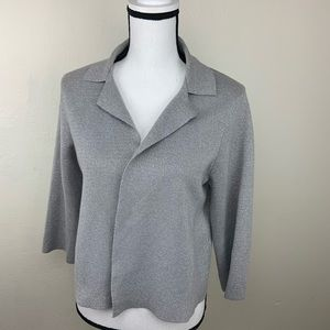 Chicos cardigan se 1 Small open front solid silver